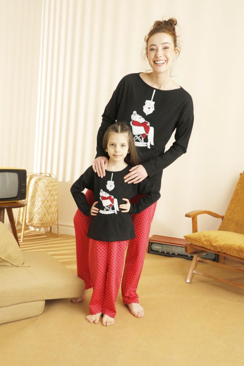 SİYAH İNCİ - Pamuklu Likralı Pijama Takım 21263179