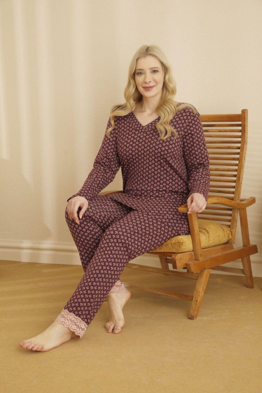 Pamuklu Likralı Sırt Dantel Detaylı Büyük Beden Battal Pijama Takım 21265681