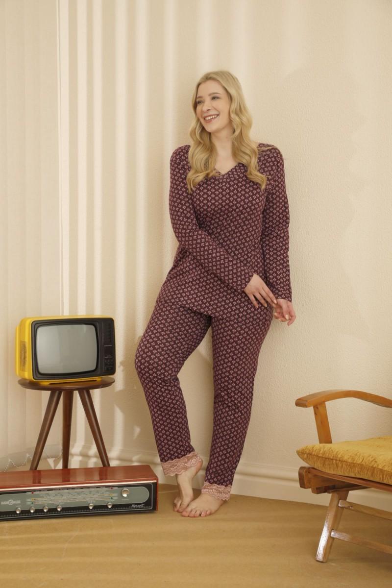 SİYAH İNCİ - Pamuklu Likralı Sırt Dantel Detaylı Büyük Beden Battal Pijama Takım 21265681