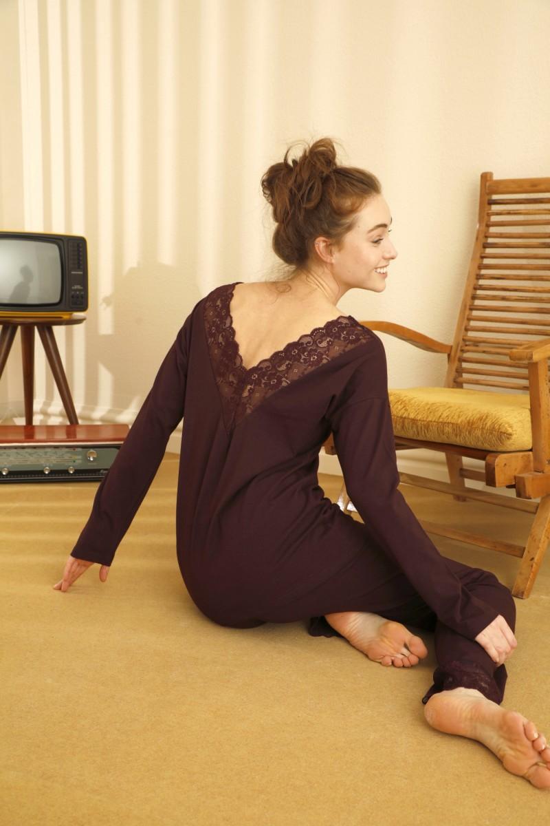 SİYAH İNCİ - Pamuklu Likralı Sırt Detaylı Pijama Takım 21260370