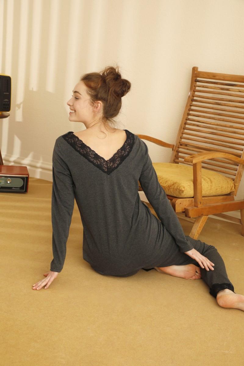 SİYAH İNCİ - Pamuklu Likralı Sırt Detaylı Pijama Takım 21260379