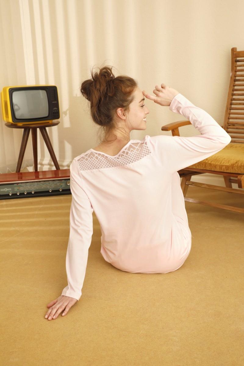 SİYAH İNCİ - Pamuklu Likralı Sırt Detaylı Pijama Takım 21260380