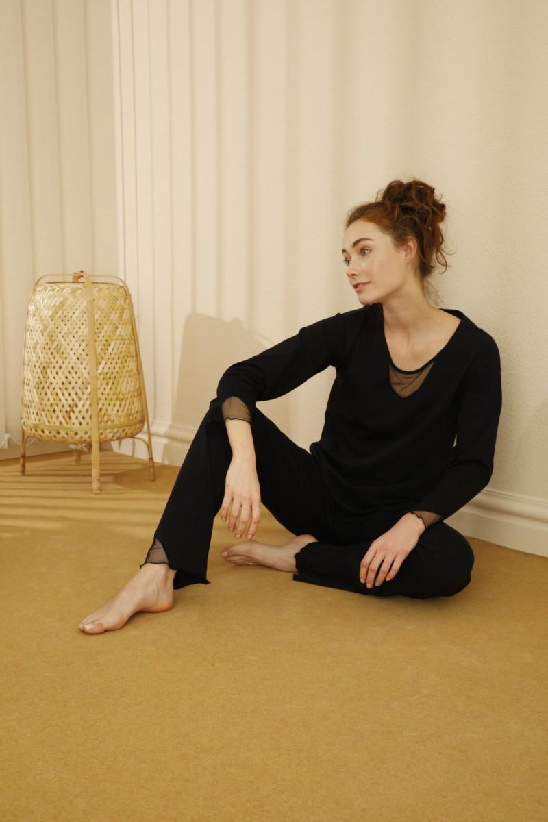 SİYAH İNCİ - Pamuklu Likralı Tül Detaylı Pijama Takım 21260310