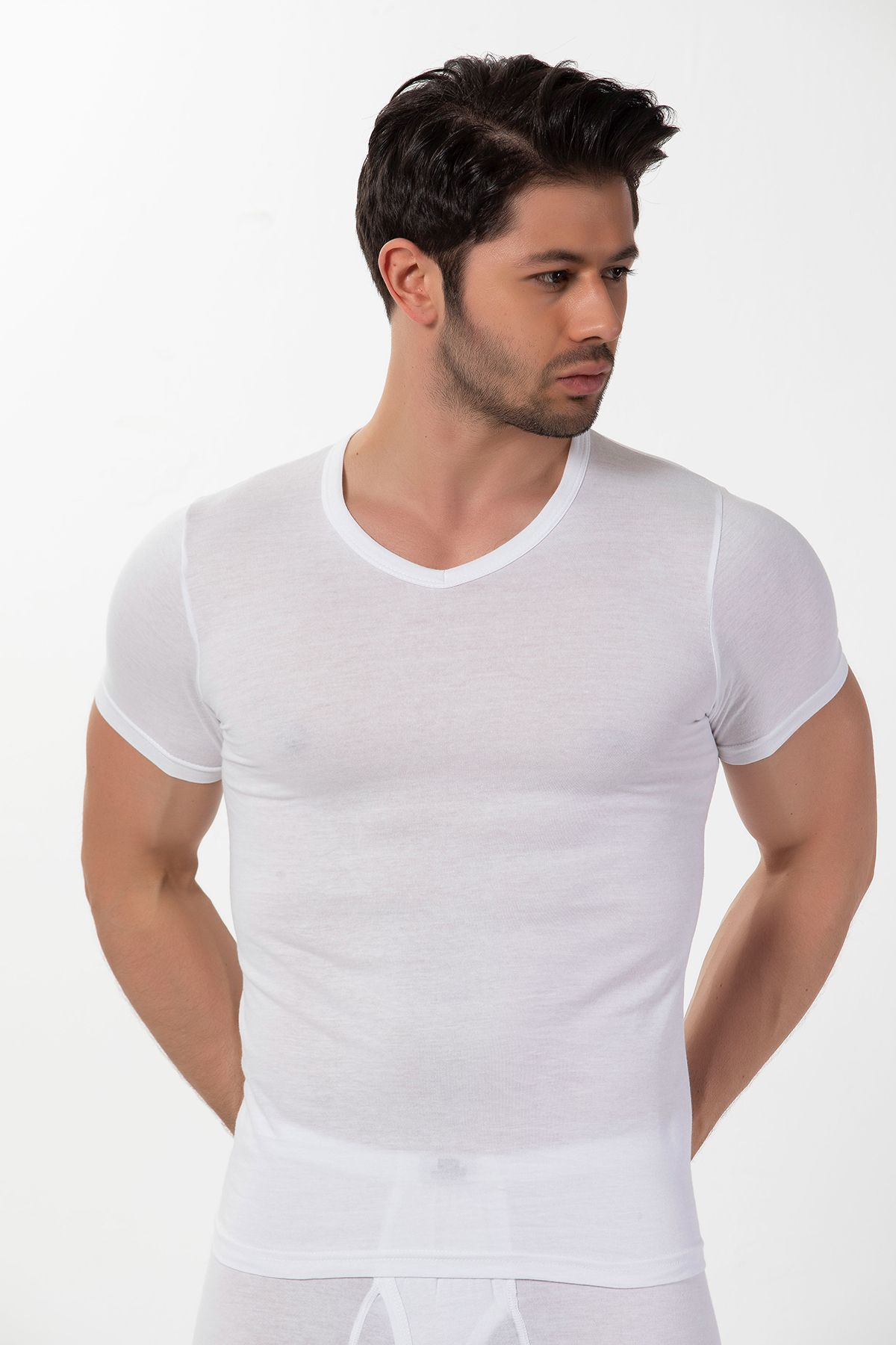 Pamuklu Ribana V Yaka Kısa Kollu T-Shirt