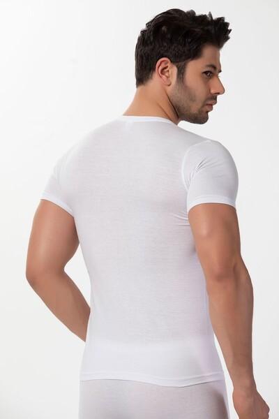 SİYAH İNCİ - Pamuklu Ribana V Yaka Kısa Kollu T-Shirt