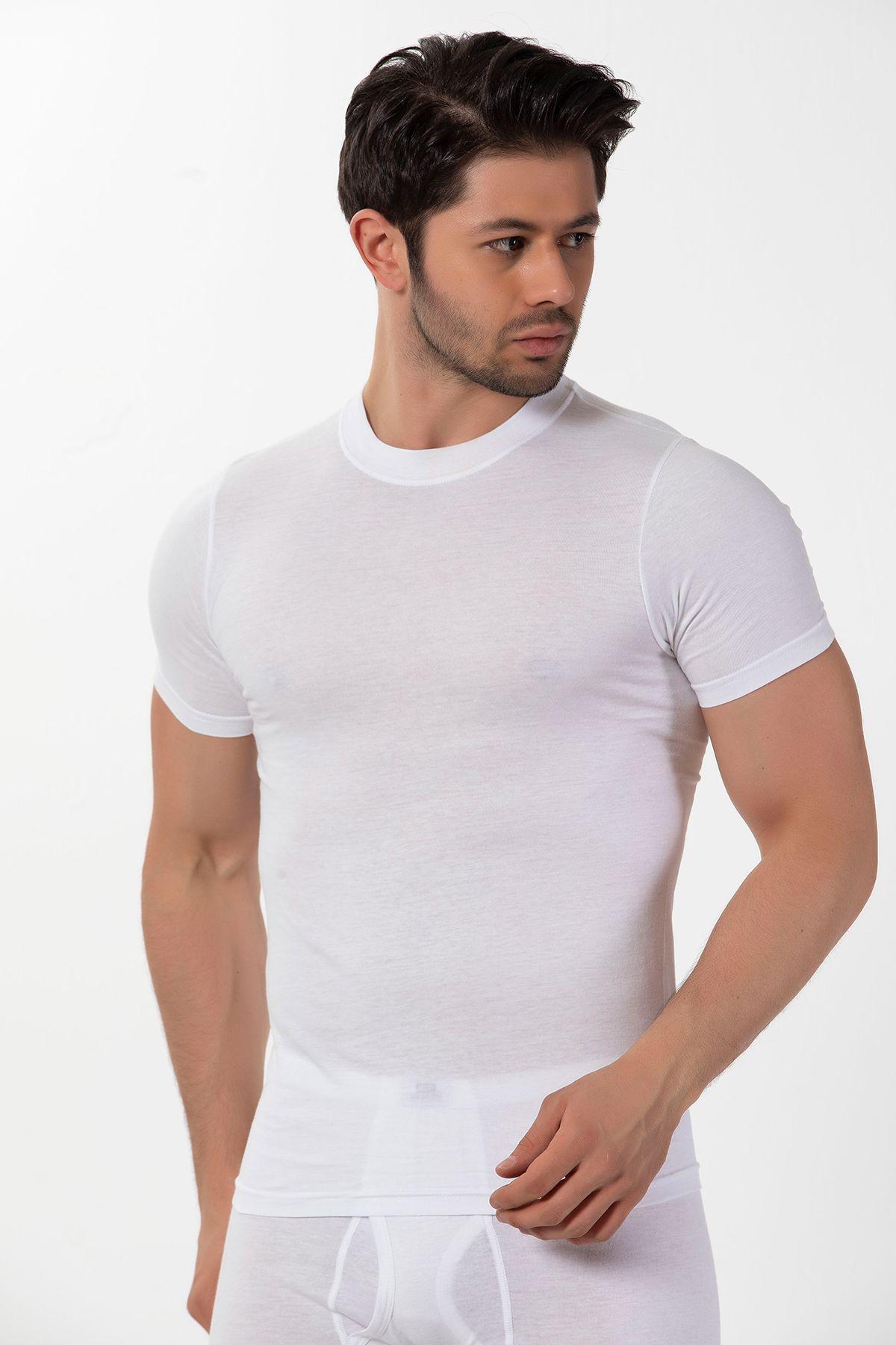Pamuklu Ribana Yuvarlak Yaka Kısa Kollu T-Shirt