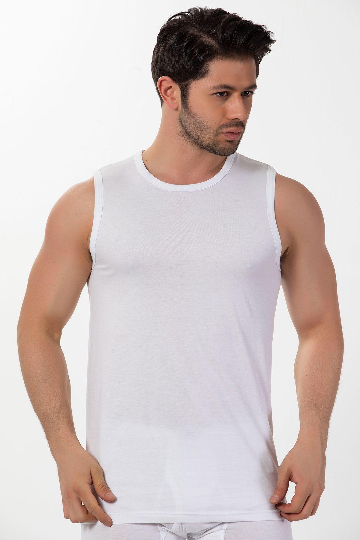 Pamuklu Ribana Yuvarlak Yaka Kolsuz T-Shirt