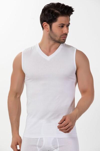 Pamuklu V Yaka Sıfır Kollu Ribana T-Shirt
