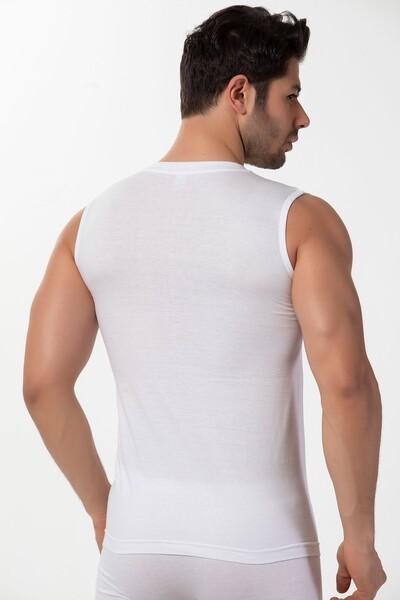 Pamuklu V Yaka Sıfır Kollu Ribana T-Shirt - Thumbnail