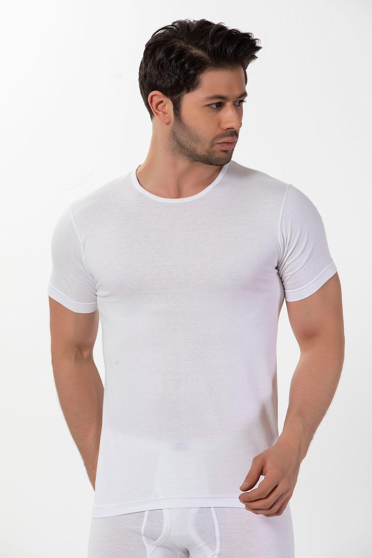 Pamuklu Yuvarlak Yaka Ribana Kısa Kollu T-Shirt