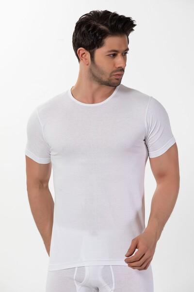 SİYAH İNCİ - Pamuklu Yuvarlak Yaka Ribana Kısa Kollu T-Shirt