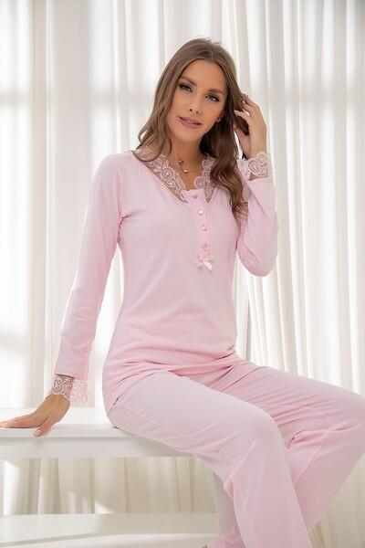 Pembe Dantelli Düğmeli Modal Pijama Takım - Thumbnail
