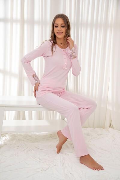 Pembe Dantelli Düğmeli Modal Pijama Takım