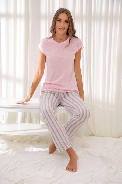 Pembe Pamuklu Dokuma Pijama Takım
