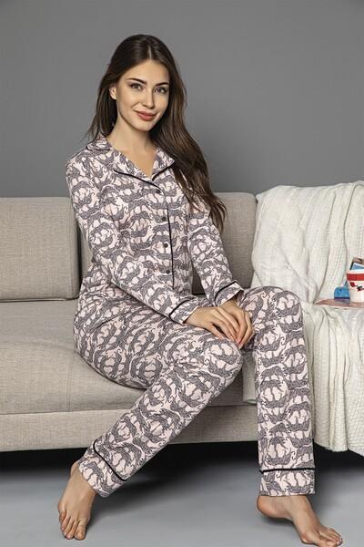 SİYAH İNCİ - Pembe Pamuklu Likrali Biyeli Düğmeli Pijama Takım