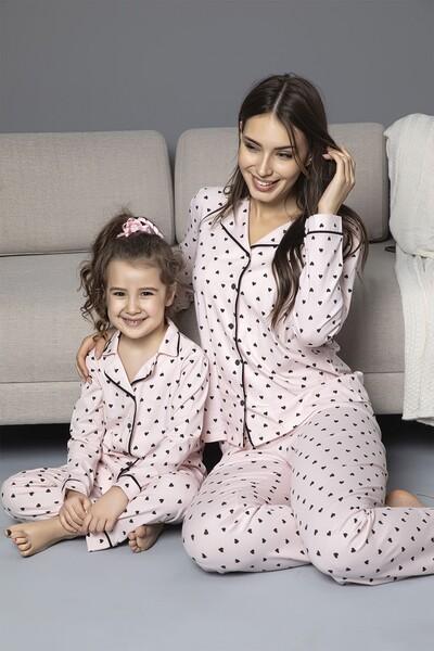 Pembe Pamuklu Likrali Biyeli Düğmeli Pijama Takım - Thumbnail