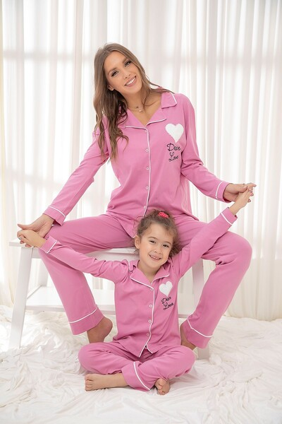Pembe Pamuklu Likrali Düğmeli Biyeli Pijama Takım - Thumbnail