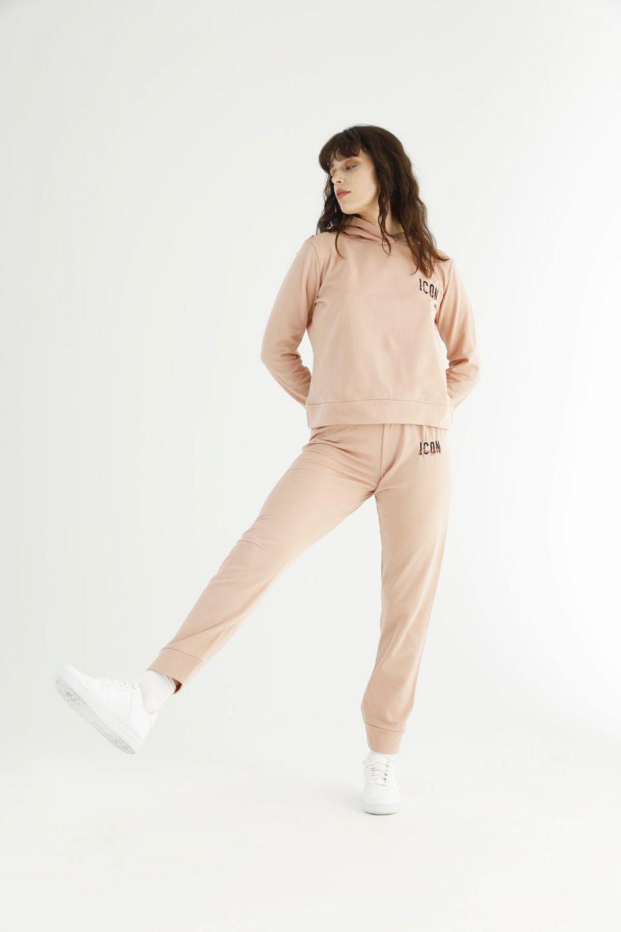 Pudra Kapişonlu Eşofman-Sweatshirt Takım 21278166
