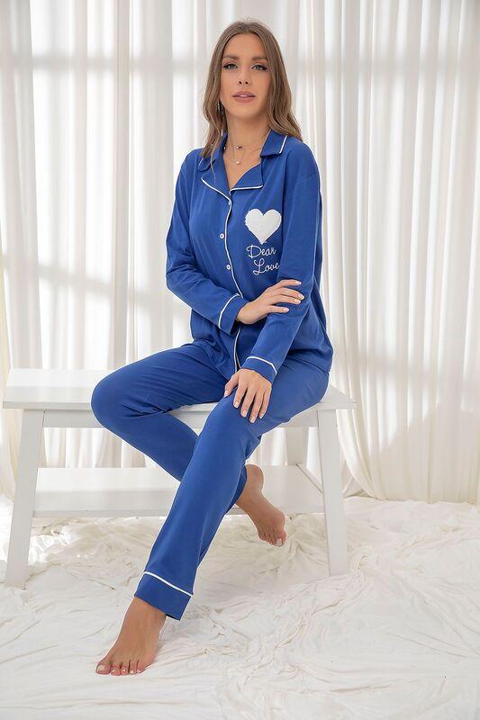 SİYAH İNCİ - Saks Pamuklu Likrali Düğmeli Biyeli Pijama Takım