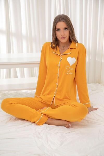 SİYAH İNCİ - Sari Pamuklu Likrali Düğmeli Biyeli Pijama Takım