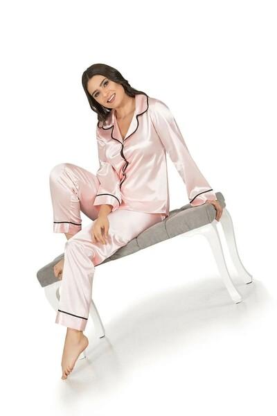 Saten Düğmeli Biyeli Pijama Takım - Thumbnail