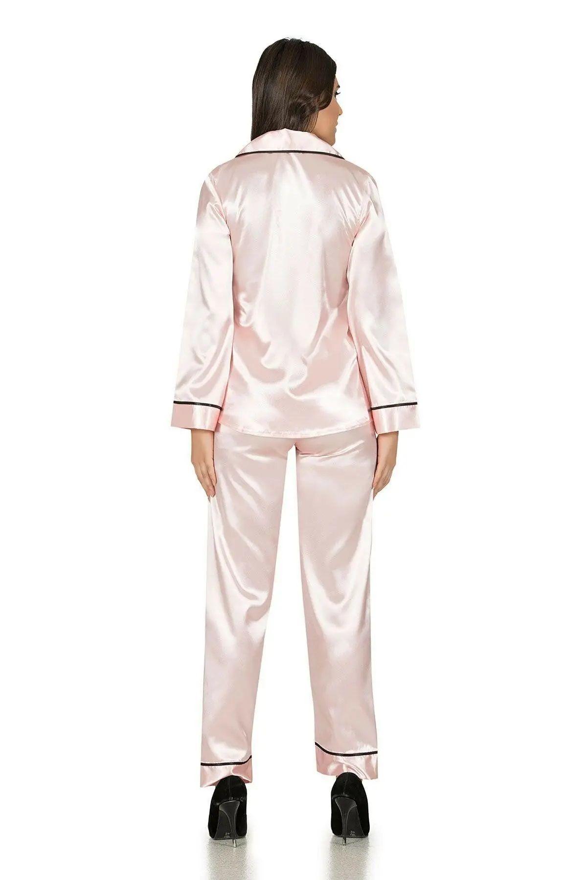 Saten Düğmeli Biyeli Pijama Takım