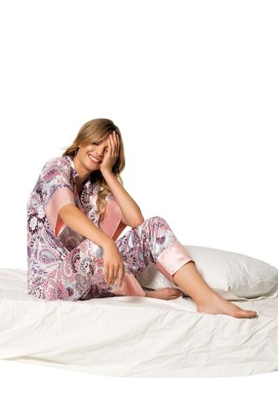SİYAH İNCİ - Saten Düğmeli Pijama Takım
