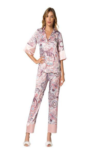 Saten Düğmeli Pijama Takım