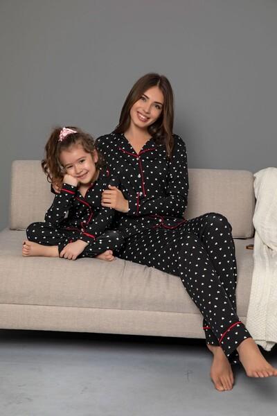 Siyah-Beyaz Pamuklu Likrali Biyeli Düğmeli Pijama Takım - Thumbnail