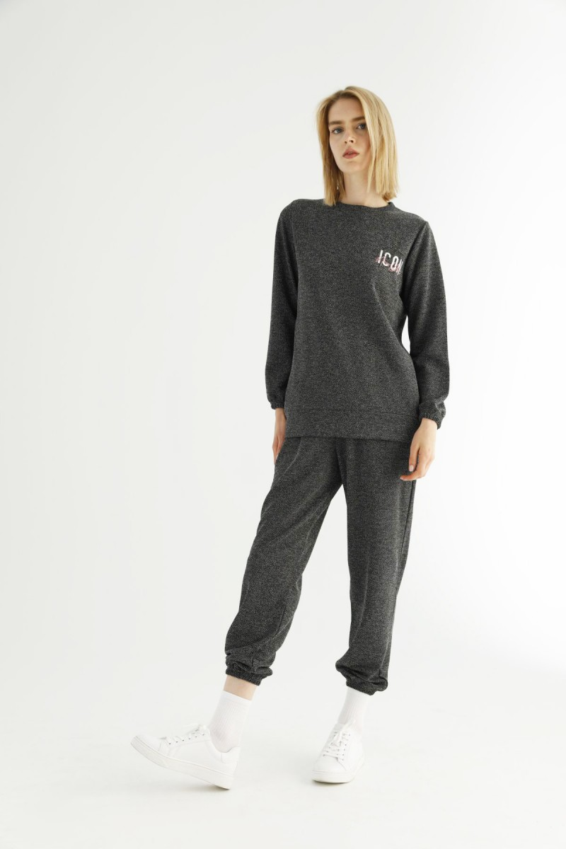 SİYAH İNCİ - Siyah Kırçıllı Cepli Eşofman-Sweatshirt Takım 21278082