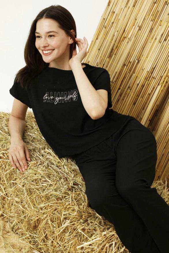SİYAH İNCİ - Siyah Krinkıl Kumaş Likralı Pijama Takım