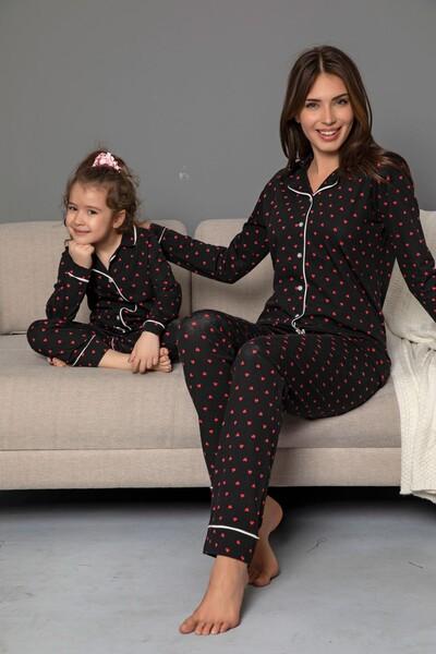 Siyah Pamuklu Likrali Biyeli Düğmeli Pijama Takım - Thumbnail