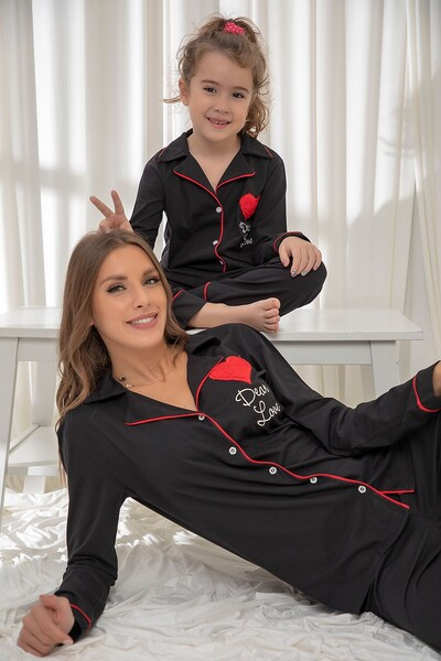 SIYAH İNCİ - Siyah Pamuklu Likrali Düğmeli Biyeli Pijama Takım