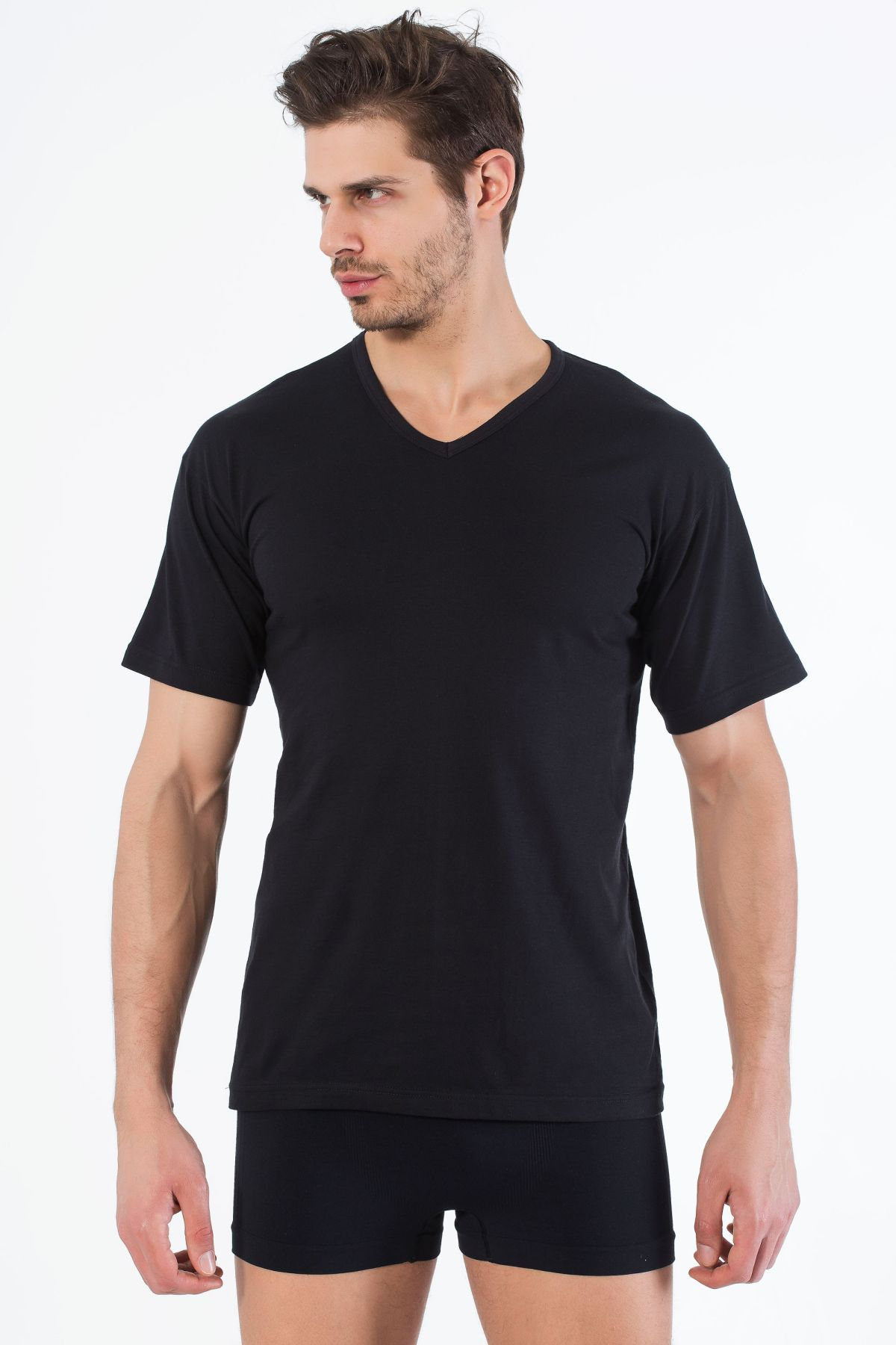 Siyah Pamuklu V Yaka Kısa Kol T-Shirt