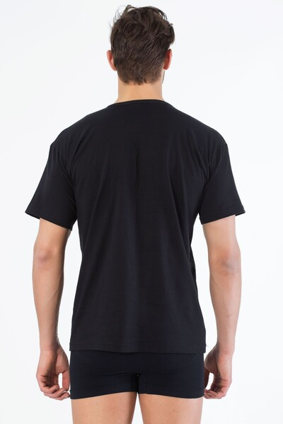 SIYAH İNCİ - Siyah Pamuklu V Yaka Kısa Kol T-Shirt