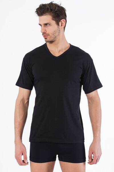 Siyah Pamuklu V Yaka Kısa Kol T-Shirt - Thumbnail