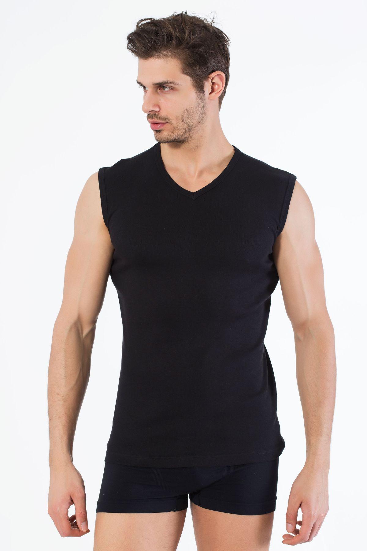 Siyah Pamuklu V Yaka Kolsuz T-Shirt