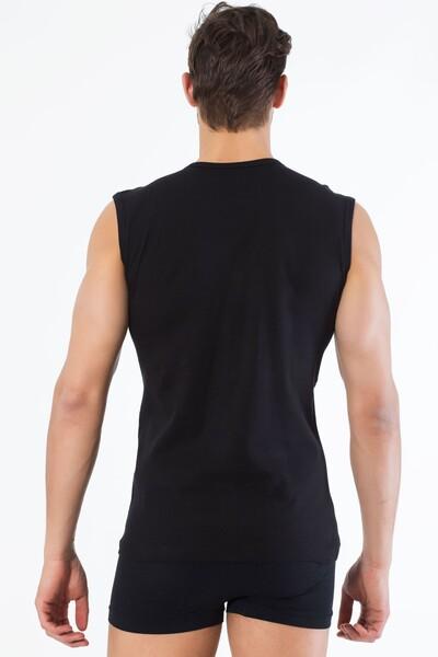 Siyah Pamuklu V Yaka Kolsuz T-Shirt - Thumbnail