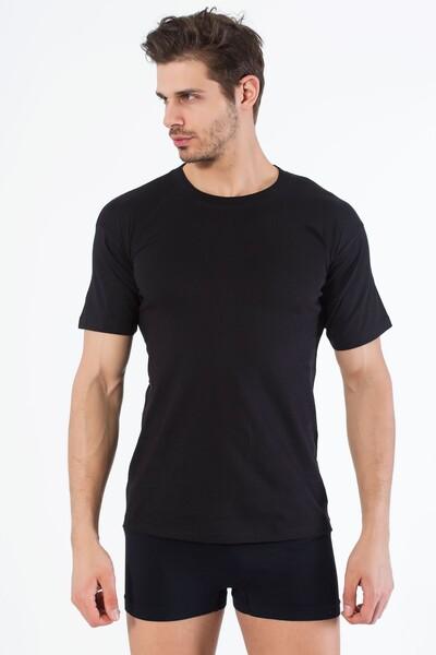 SIYAH İNCİ - Siyah Pamuklu Yuvarlak Yaka Kısa Kol T-Shirt