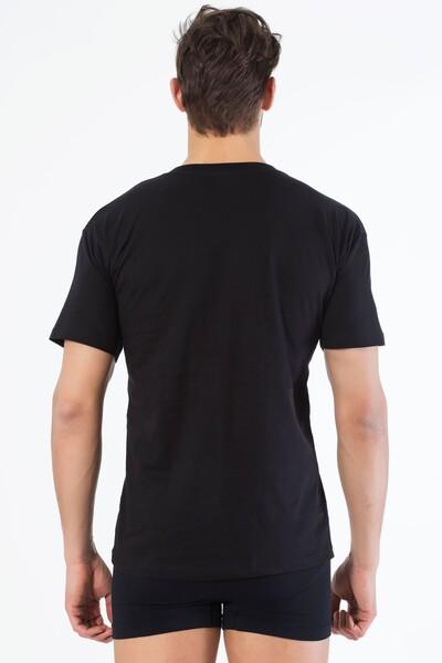 SİYAH İNCİ - Siyah Pamuklu Yuvarlak Yaka Kısa Kol T-Shirt