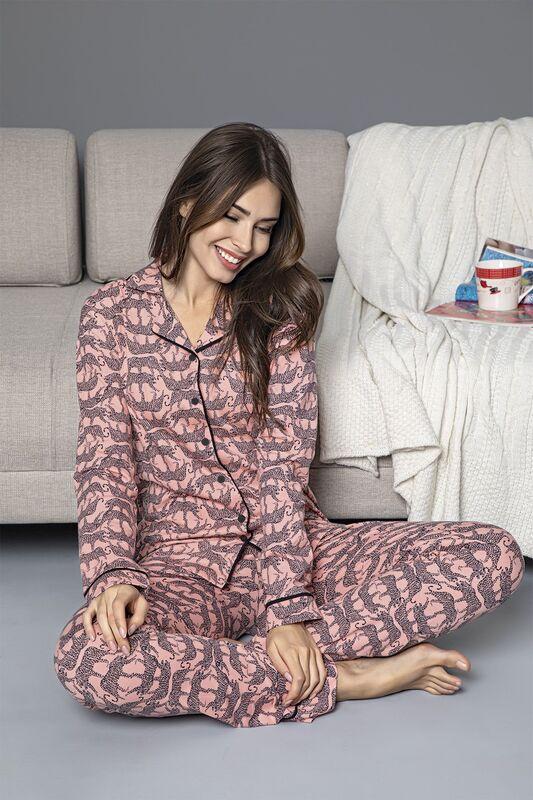 SİYAH İNCİ - Somon Pamuklu Likrali Biyeli Düğmeli Pijama Takım