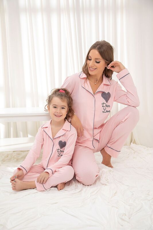 SİYAH İNCİ - Somon Pamuklu Likrali Düğmeli Biyeli Pijama Takım