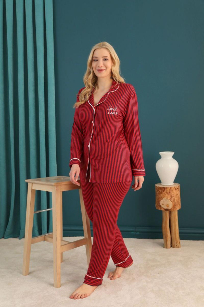 SİYAH İNCİ - Viskon Büyük Beden Battal Düğmeli Biyeli Pijama Takım 21275047