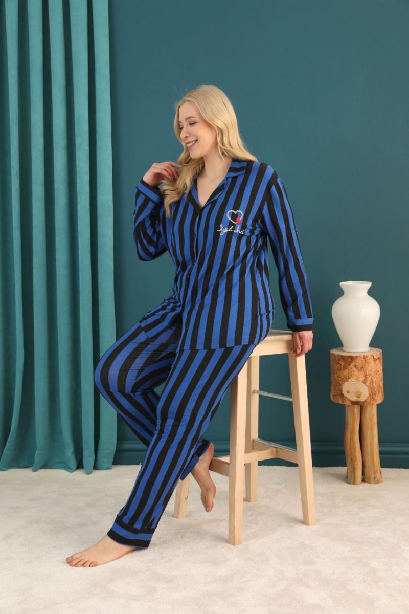 SİYAH İNCİ - Viskon Büyük Beden Battal Düğmeli Pijama Takım 21275014