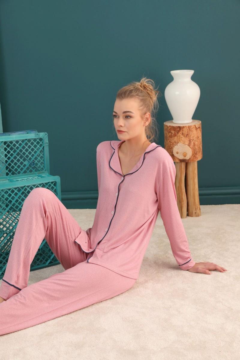 SİYAH İNCİ - Viskon Düğmeli Biyeli Pijama Takım 21274046