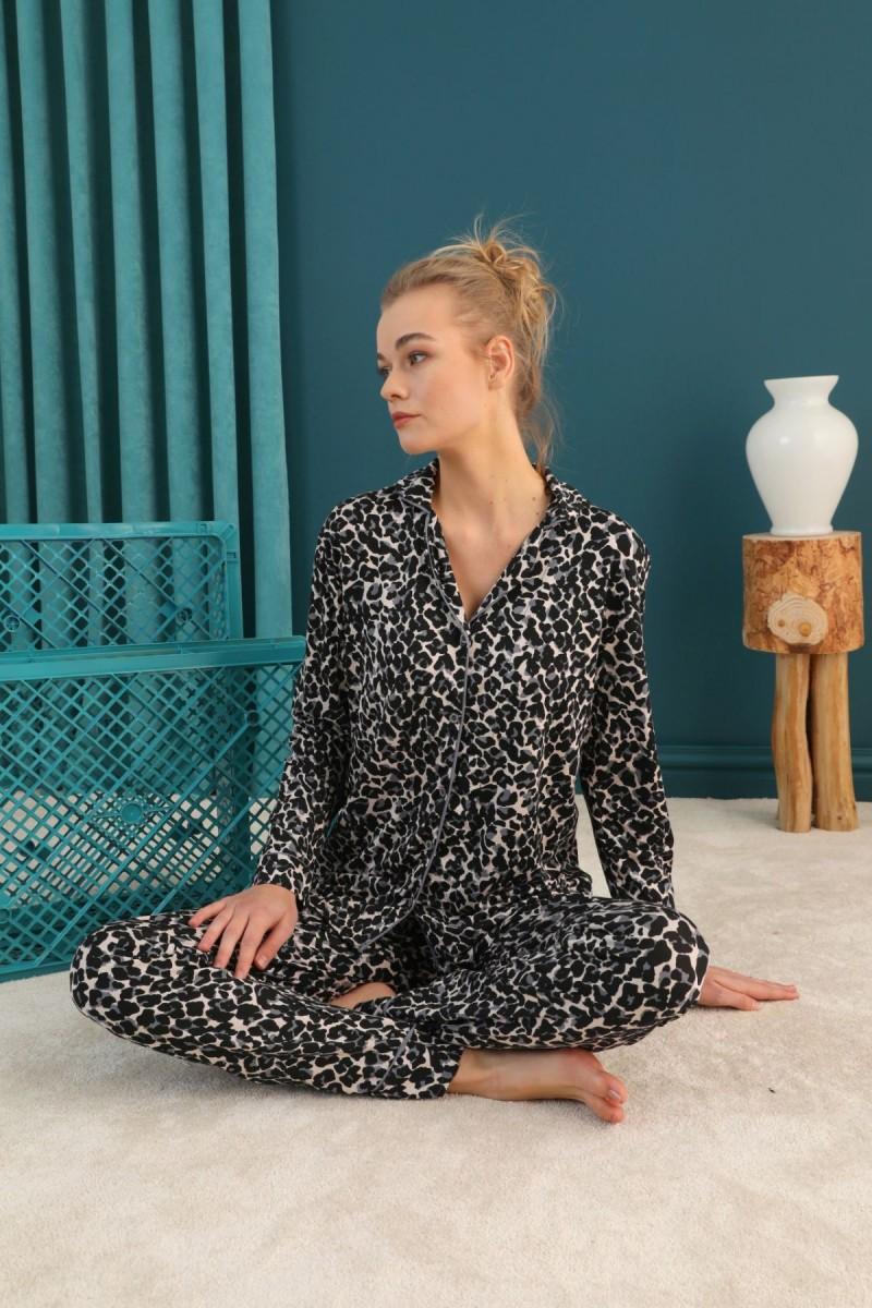 SİYAH İNCİ - Viskon Düğmeli Biyeli Pijama Takım 21274052