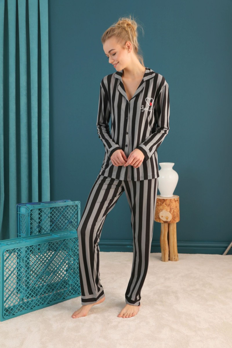 SİYAH İNCİ - Viskon Düğmeli Pijama Takım 21274021