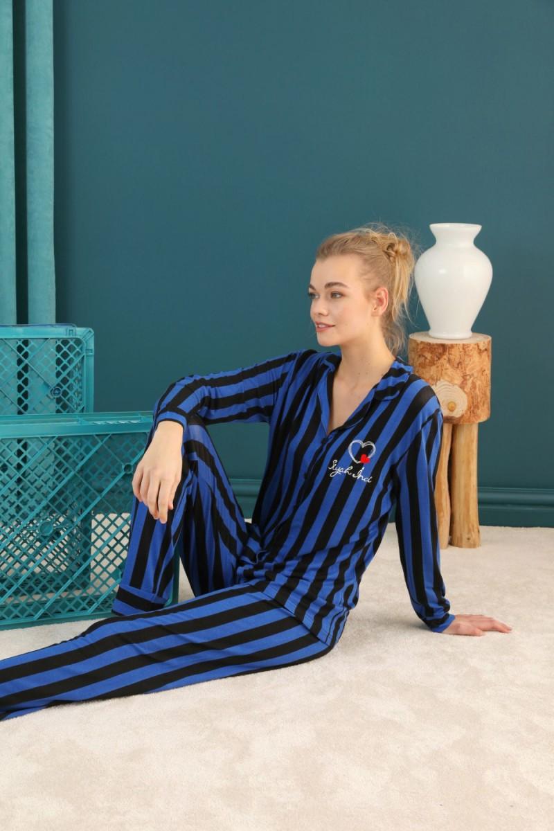 SİYAH İNCİ - Viskon Düğmeli Pijama Takım 21274030
