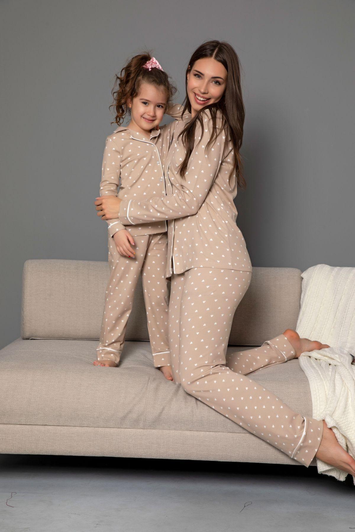 Vizon Pamuklu Likrali Biyeli Düğmeli Pijama Takım