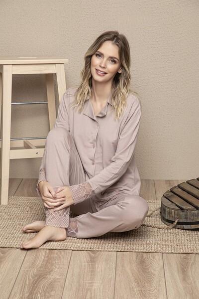 SİYAH İNCİ - Vizon Pamuklu Likrali Dantelli Düğmeli Pijama Takım